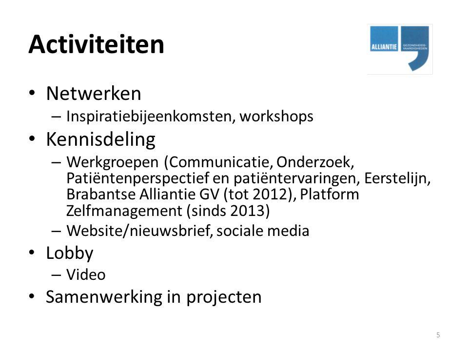 Activiteiten Netwerken – Inspiratiebijeenkomsten, workshops Kennisdeling – Werkgroepen (Communicatie, Onderzoek, Patiëntenperspectief en patiëntervari