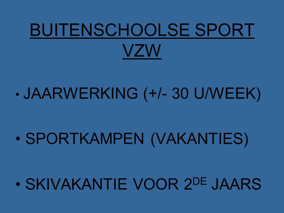 BUITENSCHOOLSE SPORT VZW JAARWERKING (+/- 30 U/WEEK) SPORTKAMPEN (VAKANTIES) SKIVAKANTIE VOOR 2 DE JAARS