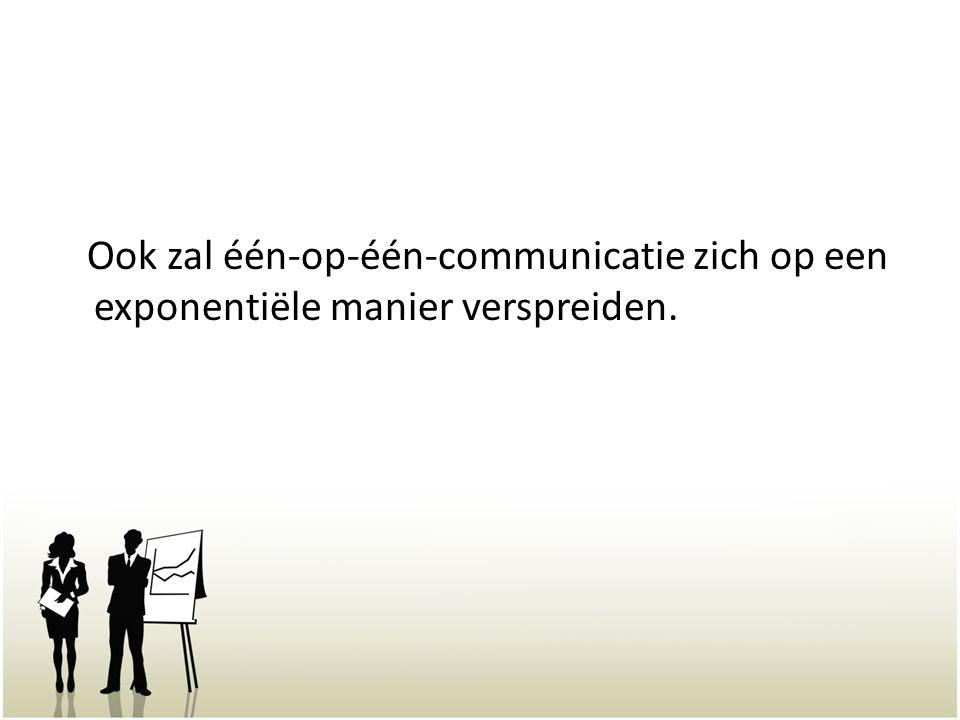 Ook zal één-op-één-communicatie zich op een exponentiële manier verspreiden.
