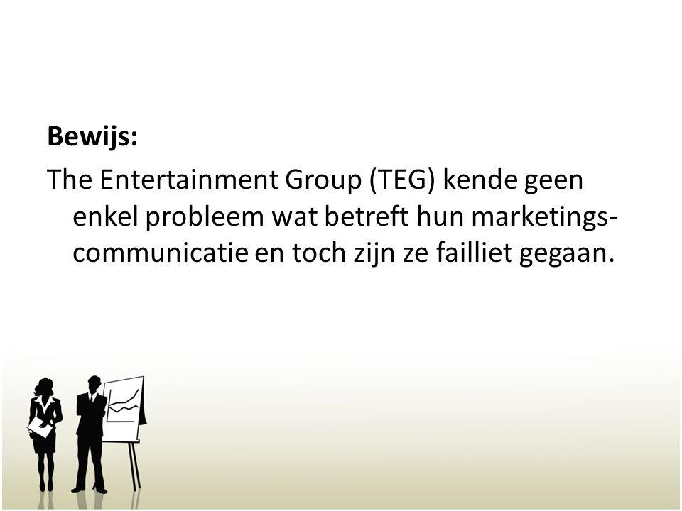 Bewijs: The Entertainment Group (TEG) kende geen enkel probleem wat betreft hun marketings- communicatie en toch zijn ze failliet gegaan.