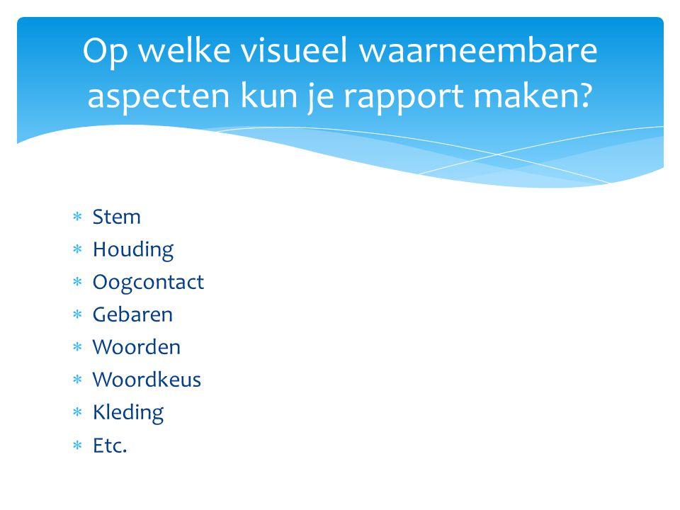 Op welke visueel waarneembare aspecten kun je rapport maken?  Stem  Houding  Oogcontact  Gebaren  Woorden  Woordkeus  Kleding  Etc.