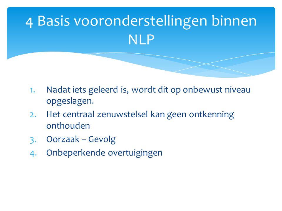 4 Basis vooronderstellingen binnen NLP 1.Nadat iets geleerd is, wordt dit op onbewust niveau opgeslagen. 2.Het centraal zenuwstelsel kan geen ontkenni