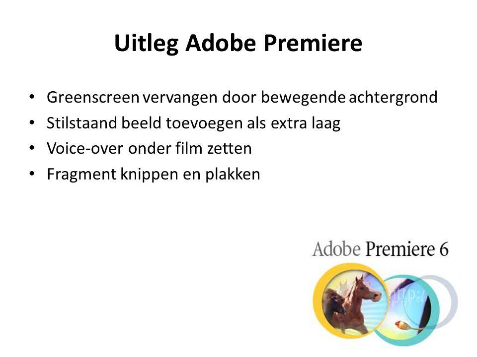 Uitleg Adobe Premiere Greenscreen vervangen door bewegende achtergrond Stilstaand beeld toevoegen als extra laag Voice-over onder film zetten Fragment