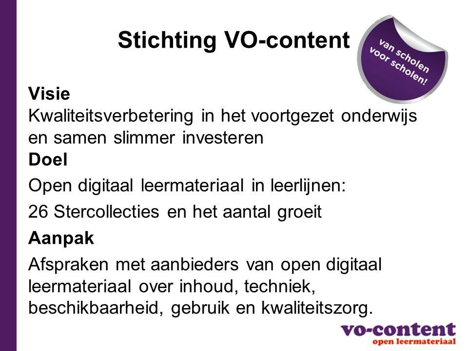 Stichting VO-content Visie Kwaliteitsverbetering in het voortgezet onderwijs en samen slimmer investeren Doel Open digitaal leermateriaal in leerlijne