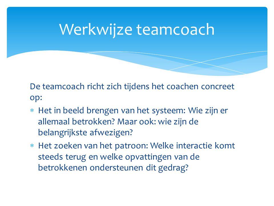 De teamcoach richt zich tijdens het coachen concreet op:  Het in beeld brengen van het systeem: Wie zijn er allemaal betrokken? Maar ook: wie zijn de