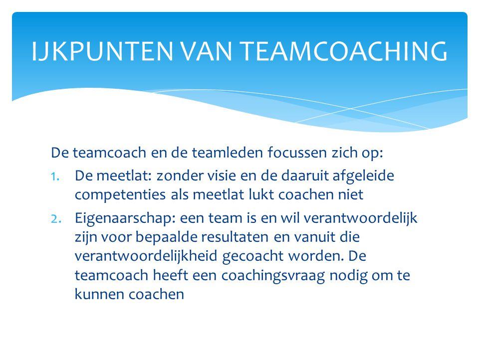 De teamcoach en de teamleden focussen zich op: 1.De meetlat: zonder visie en de daaruit afgeleide competenties als meetlat lukt coachen niet 2.Eigenaa