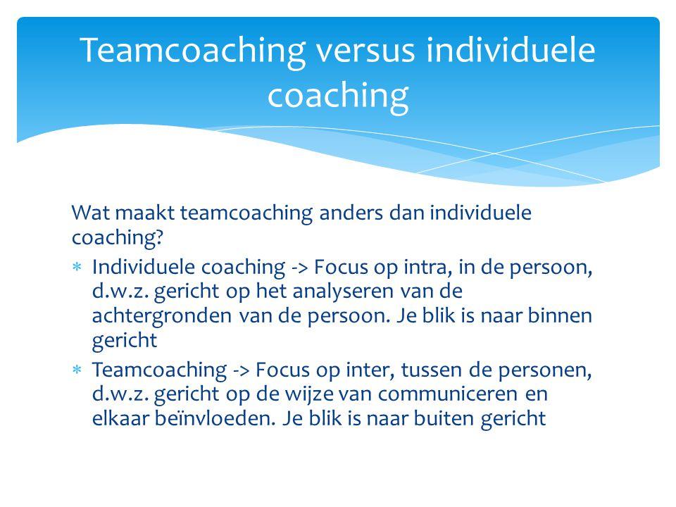 Wat maakt teamcoaching anders dan individuele coaching?  Individuele coaching -> Focus op intra, in de persoon, d.w.z. gericht op het analyseren van