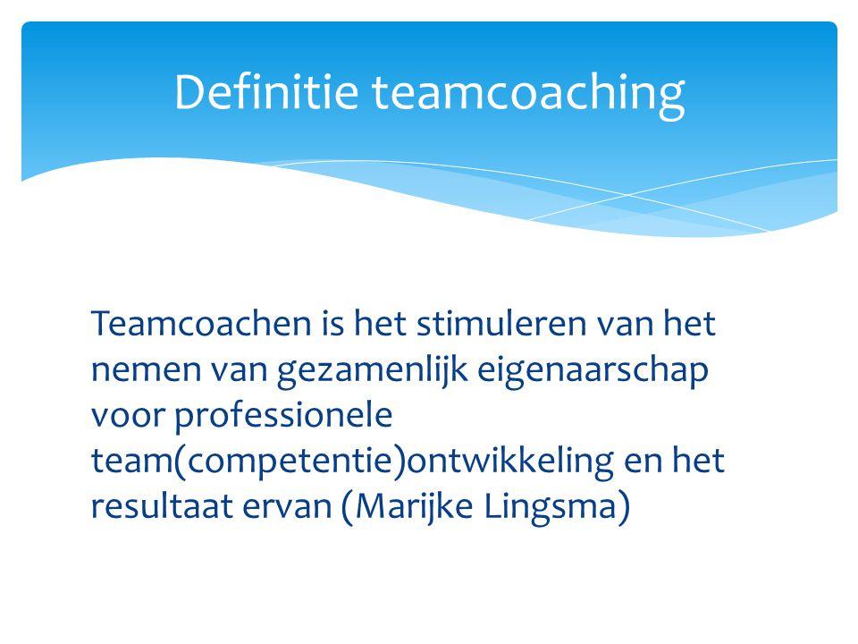 Teamcoachen is het stimuleren van het nemen van gezamenlijk eigenaarschap voor professionele team(competentie)ontwikkeling en het resultaat ervan (Mar