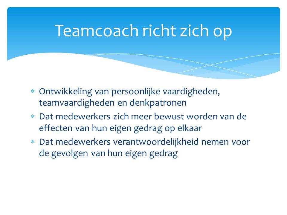 Ontwikkeling van persoonlijke vaardigheden, teamvaardigheden en denkpatronen  Dat medewerkers zich meer bewust worden van de effecten van hun eigen
