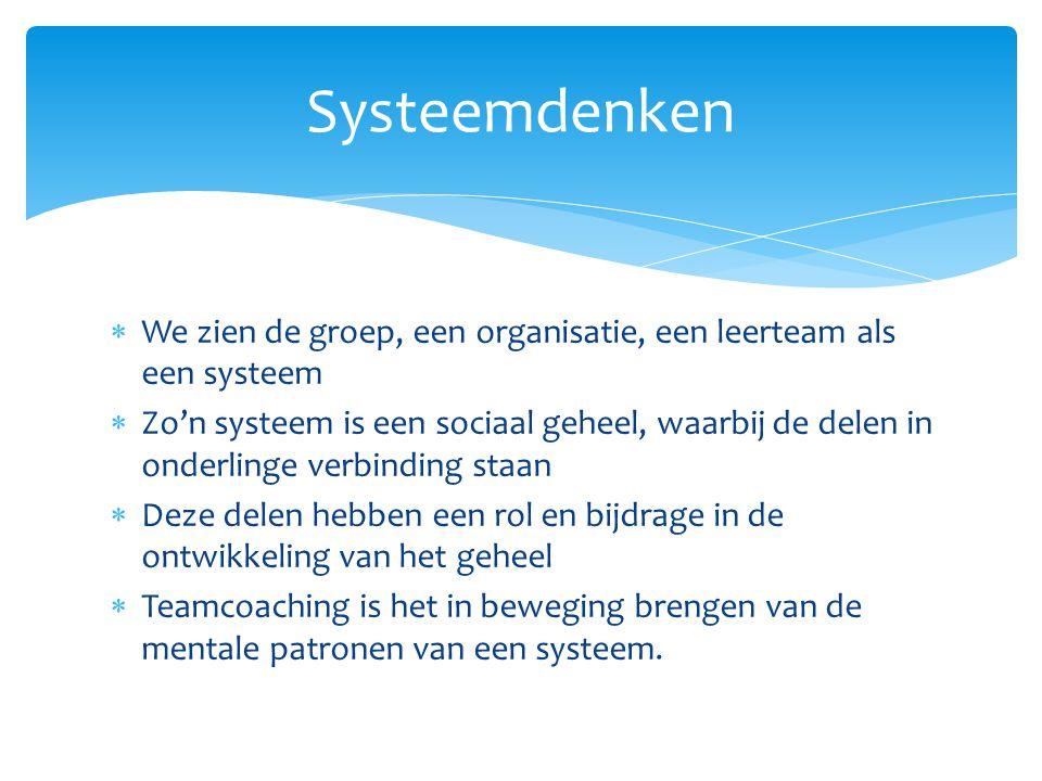  We zien de groep, een organisatie, een leerteam als een systeem  Zo'n systeem is een sociaal geheel, waarbij de delen in onderlinge verbinding staa