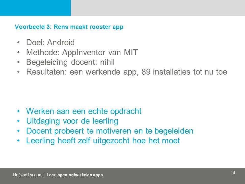 Hofstad Lyceum   Leerlingen ontwikkelen apps 14 Voorbeeld 3: Rens maakt rooster app Doel: Android Methode: AppInventor van MIT Begeleiding docent: nih