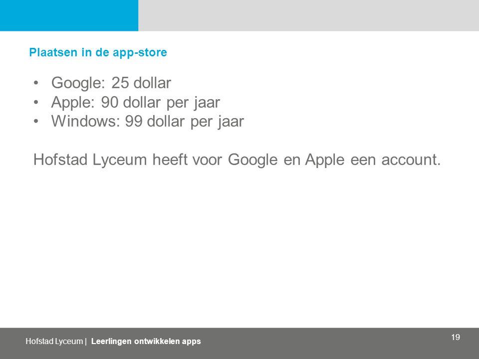 Hofstad Lyceum | Leerlingen ontwikkelen apps 19 Plaatsen in de app-store Google: 25 dollar Apple: 90 dollar per jaar Windows: 99 dollar per jaar Hofstad Lyceum heeft voor Google en Apple een account.