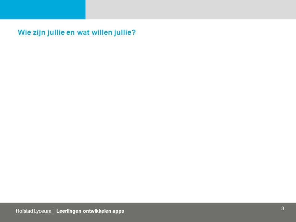 Hofstad Lyceum | Leerlingen ontwikkelen apps 3 Wie zijn jullie en wat willen jullie?
