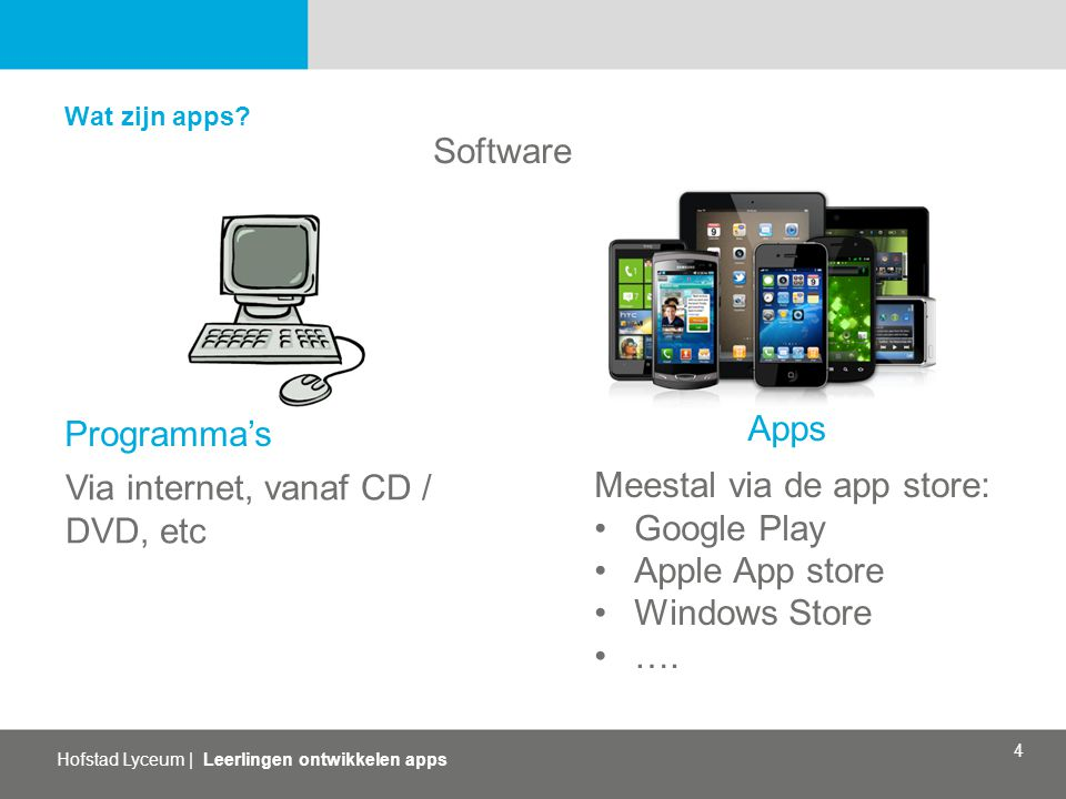 Hofstad Lyceum | Leerlingen ontwikkelen apps 4 Wat zijn apps? Software Apps Programma's Via internet, vanaf CD / DVD, etc Meestal via de app store: Go