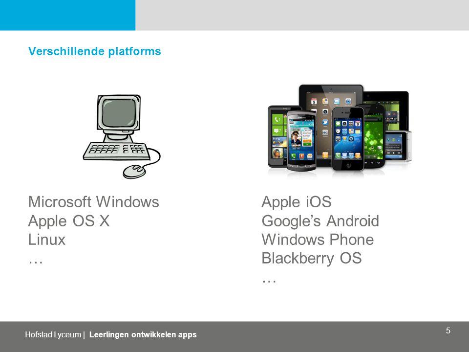 Hofstad Lyceum   Leerlingen ontwikkelen apps 5 Verschillende platforms Microsoft Windows Apple OS X Linux … Apple iOS Google's Android Windows Phone B