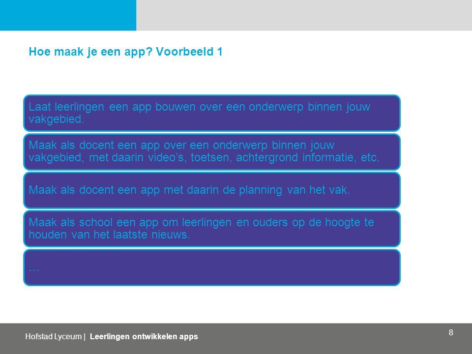 Hofstad Lyceum   Leerlingen ontwikkelen apps 8 Hoe maak je een app? Voorbeeld 1 Laat leerlingen een app bouwen over een onderwerp binnen jouw vakgebie