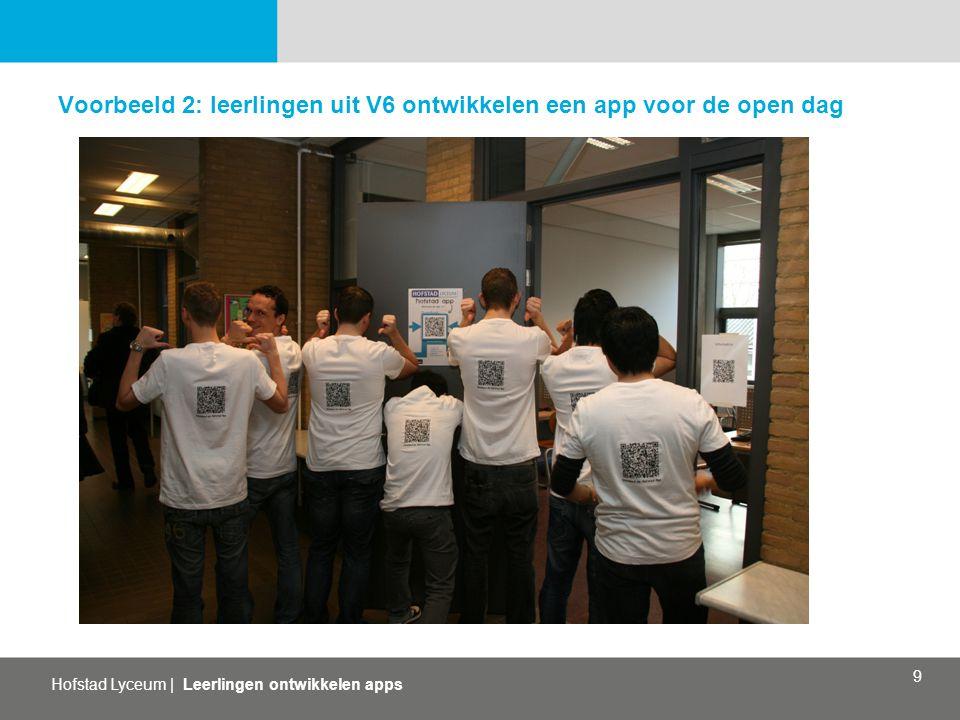 Hofstad Lyceum   Leerlingen ontwikkelen apps 9 Voorbeeld 2: leerlingen uit V6 ontwikkelen een app voor de open dag