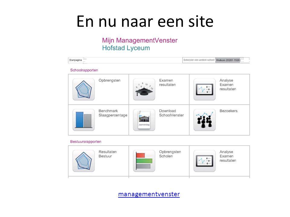 En nu naar een site managementvenster