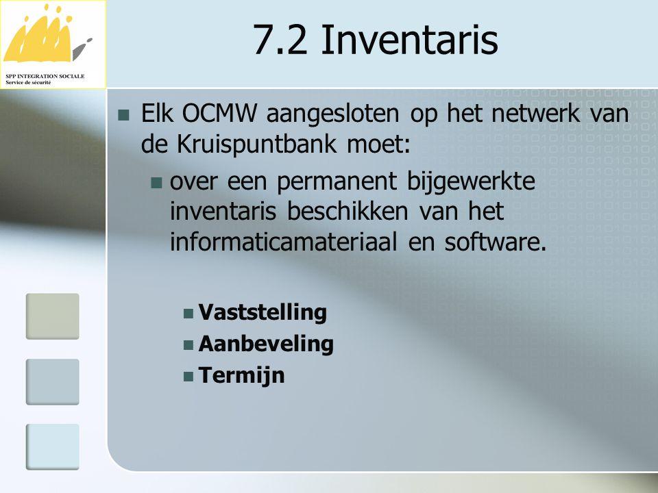 7.2 Inventaris Elk OCMW aangesloten op het netwerk van de Kruispuntbank moet: over een permanent bijgewerkte inventaris beschikken van het informatica