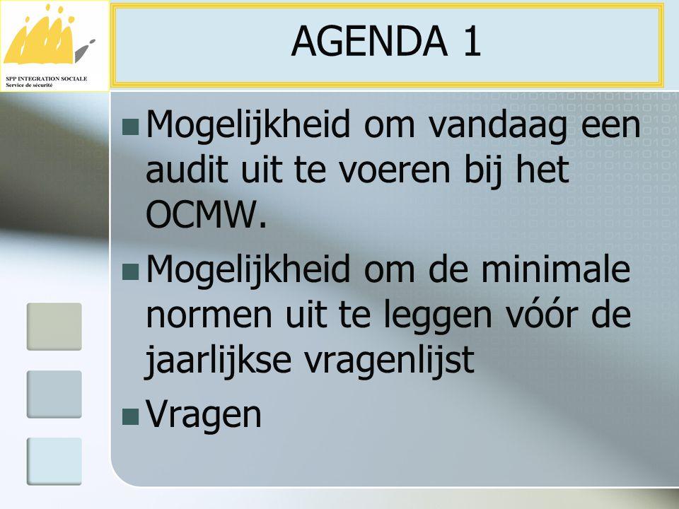 Mogelijkheid om vandaag een audit uit te voeren bij het OCMW. Mogelijkheid om de minimale normen uit te leggen vóór de jaarlijkse vragenlijst Vragen A