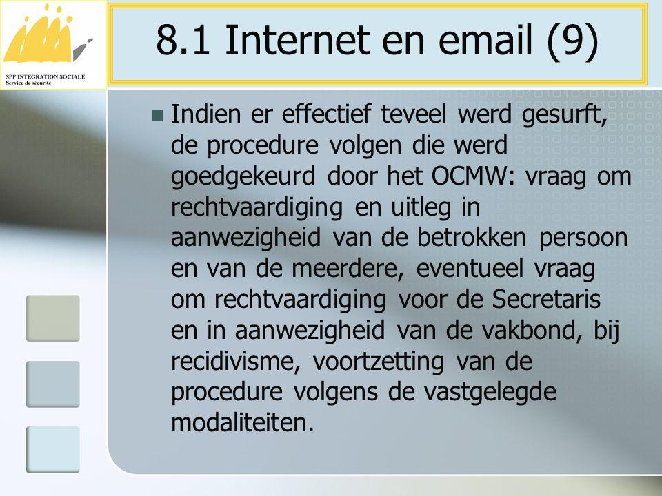 Indien er effectief teveel werd gesurft, de procedure volgen die werd goedgekeurd door het OCMW: vraag om rechtvaardiging en uitleg in aanwezigheid va