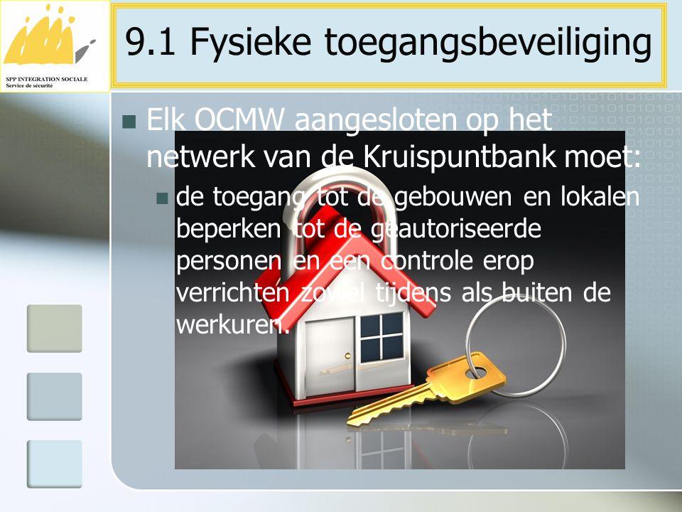 Elk OCMW aangesloten op het netwerk van de Kruispuntbank moet: de toegang tot de gebouwen en lokalen beperken tot de geautoriseerde personen en een co