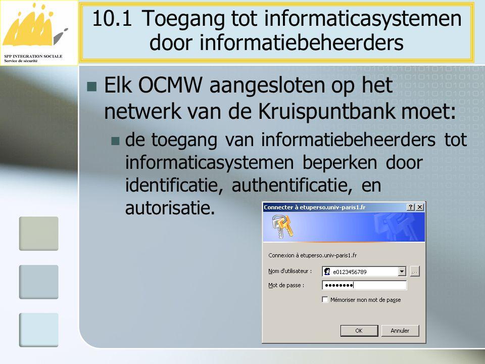 Elk OCMW aangesloten op het netwerk van de Kruispuntbank moet: de toegang van informatiebeheerders tot informaticasystemen beperken door identificatie