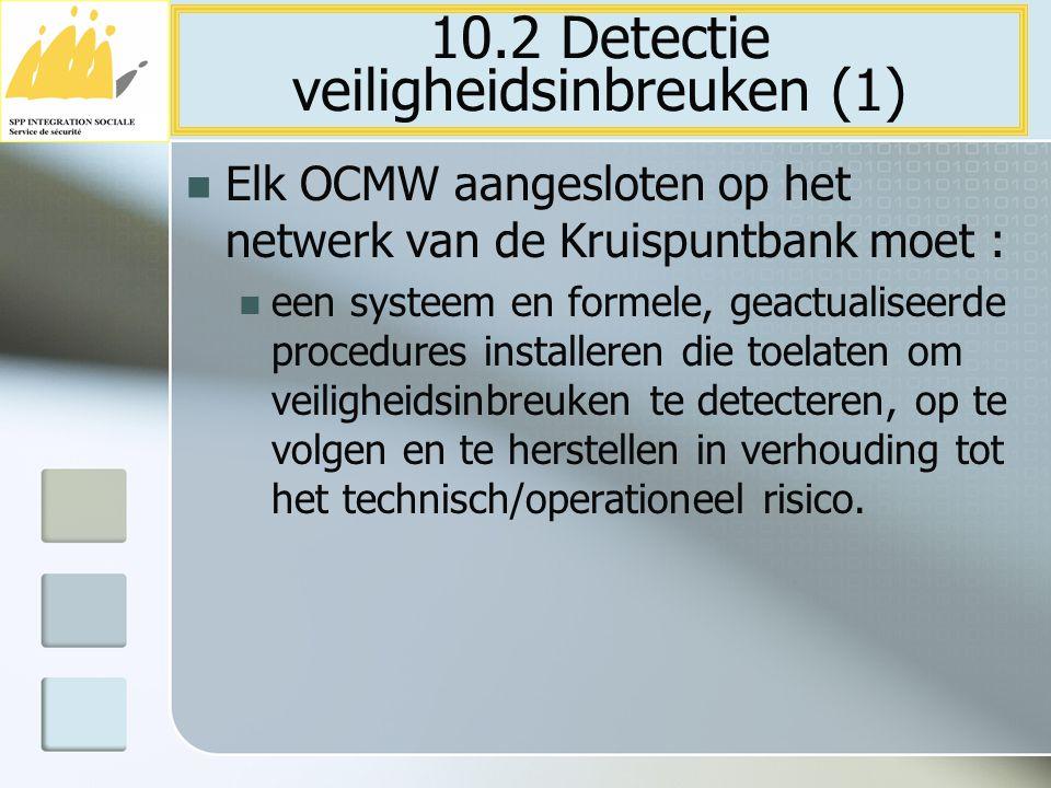 Elk OCMW aangesloten op het netwerk van de Kruispuntbank moet : een systeem en formele, geactualiseerde procedures installeren die toelaten om veiligh