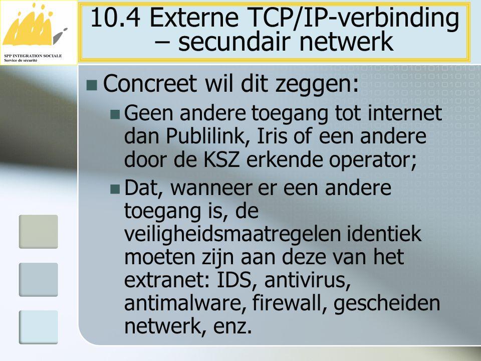 Concreet wil dit zeggen: Geen andere toegang tot internet dan Publilink, Iris of een andere door de KSZ erkende operator; Dat, wanneer er een andere t