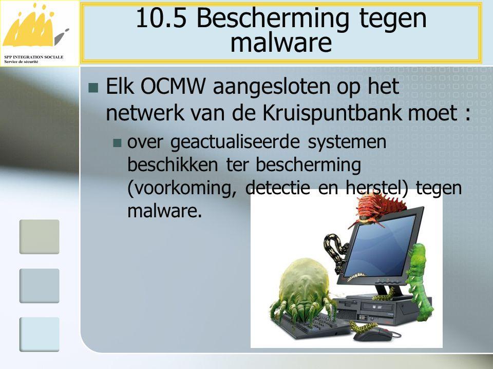 Elk OCMW aangesloten op het netwerk van de Kruispuntbank moet : over geactualiseerde systemen beschikken ter bescherming (voorkoming, detectie en hers