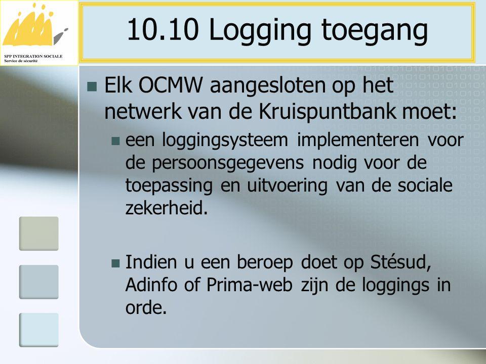 Elk OCMW aangesloten op het netwerk van de Kruispuntbank moet: een loggingsysteem implementeren voor de persoonsgegevens nodig voor de toepassing en u