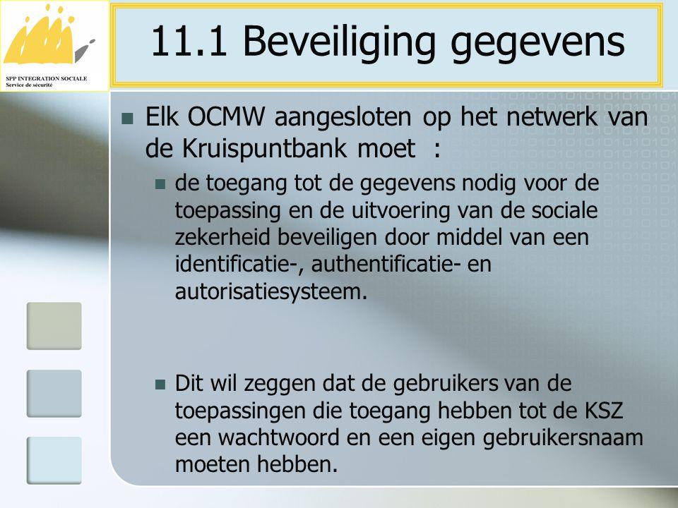 Elk OCMW aangesloten op het netwerk van de Kruispuntbank moet : de toegang tot de gegevens nodig voor de toepassing en de uitvoering van de sociale ze