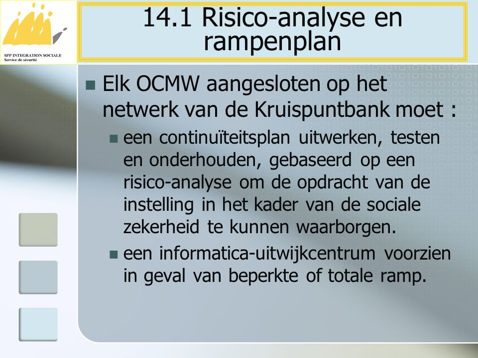 Elk OCMW aangesloten op het netwerk van de Kruispuntbank moet : een continuïteitsplan uitwerken, testen en onderhouden, gebaseerd op een risico-analys