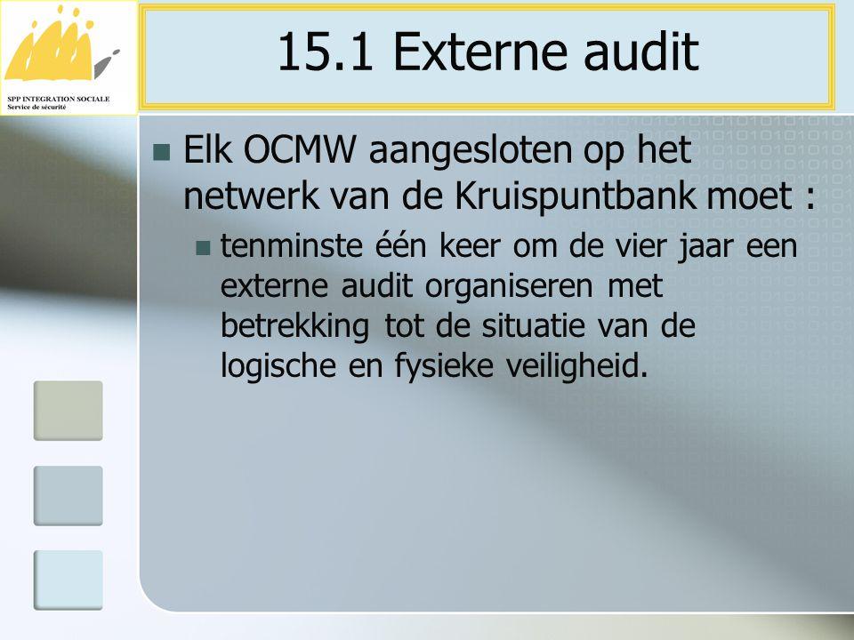 Elk OCMW aangesloten op het netwerk van de Kruispuntbank moet : tenminste één keer om de vier jaar een externe audit organiseren met betrekking tot de