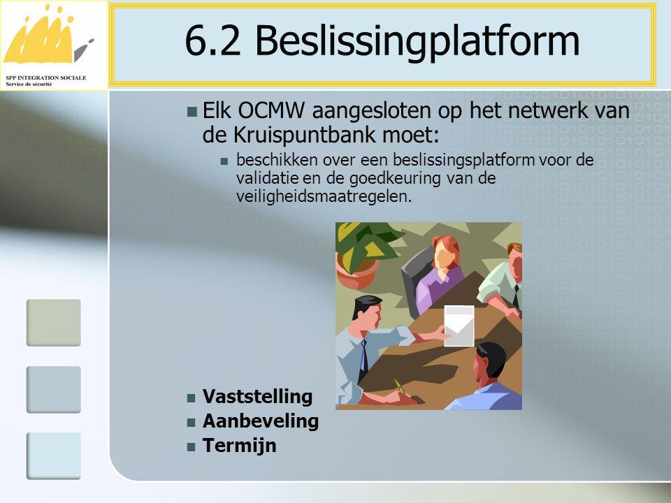 Elk OCMW aangesloten op het netwerk van de Kruispuntbank moet: beschikken over een beslissingsplatform voor de validatie en de goedkeuring van de veil