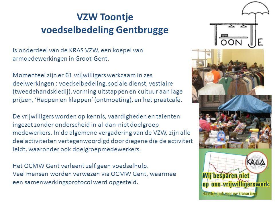 VZW Toontje voedselbedeling Gentbrugge Is onderdeel van de KRAS VZW, een koepel van armoedewerkingen in Groot-Gent.