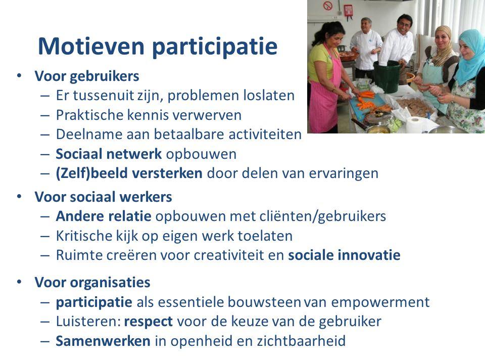 Motieven participatie Voor gebruikers – Er tussenuit zijn, problemen loslaten – Praktische kennis verwerven – Deelname aan betaalbare activiteiten – Sociaal netwerk opbouwen – (Zelf)beeld versterken door delen van ervaringen Voor sociaal werkers – Andere relatie opbouwen met cliënten/gebruikers – Kritische kijk op eigen werk toelaten – Ruimte creëren voor creativiteit en sociale innovatie Voor organisaties – participatie als essentiele bouwsteen van empowerment – Luisteren: respect voor de keuze van de gebruiker – Samenwerken in openheid en zichtbaarheid
