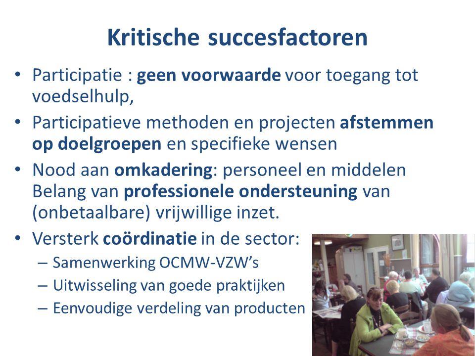 Kritische succesfactoren Participatie : geen voorwaarde voor toegang tot voedselhulp, Participatieve methoden en projecten afstemmen op doelgroepen en specifieke wensen Nood aan omkadering: personeel en middelen Belang van professionele ondersteuning van (onbetaalbare) vrijwillige inzet.