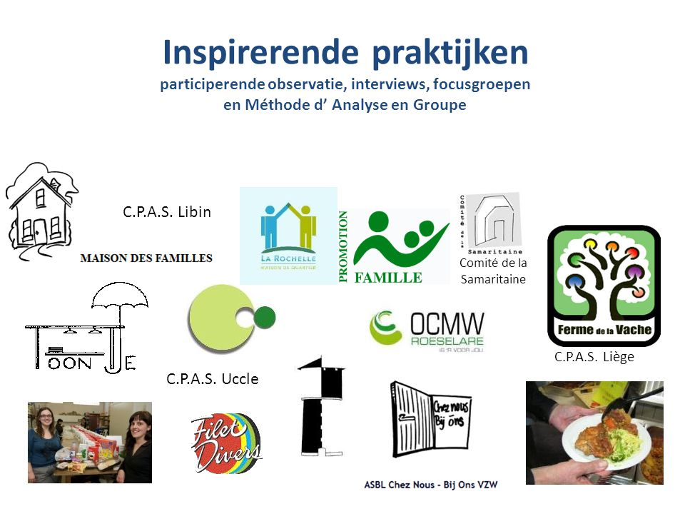 Inspirerende praktijken participerende observatie, interviews, focusgroepen en Méthode d' Analyse en Groupe Comité de la Samaritaine C.P.A.S.