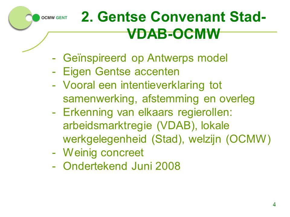 4 2. Gentse Convenant Stad- VDAB-OCMW -Geïnspireerd op Antwerps model -Eigen Gentse accenten -Vooral een intentieverklaring tot samenwerking, afstemmi