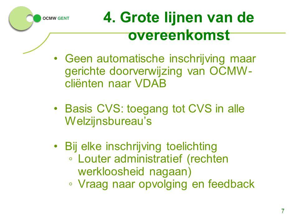 7 4. Grote lijnen van de overeenkomst Geen automatische inschrijving maar gerichte doorverwijzing van OCMW- cliënten naar VDAB Basis CVS: toegang tot