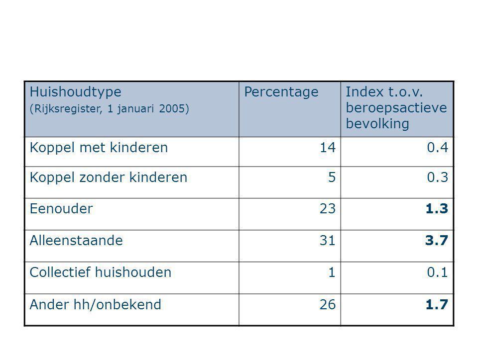 Huishoudtype (Rijksregister, 1 januari 2005) PercentageIndex t.o.v. beroepsactieve bevolking Koppel met kinderen140.4 Koppel zonder kinderen50.3 Eenou