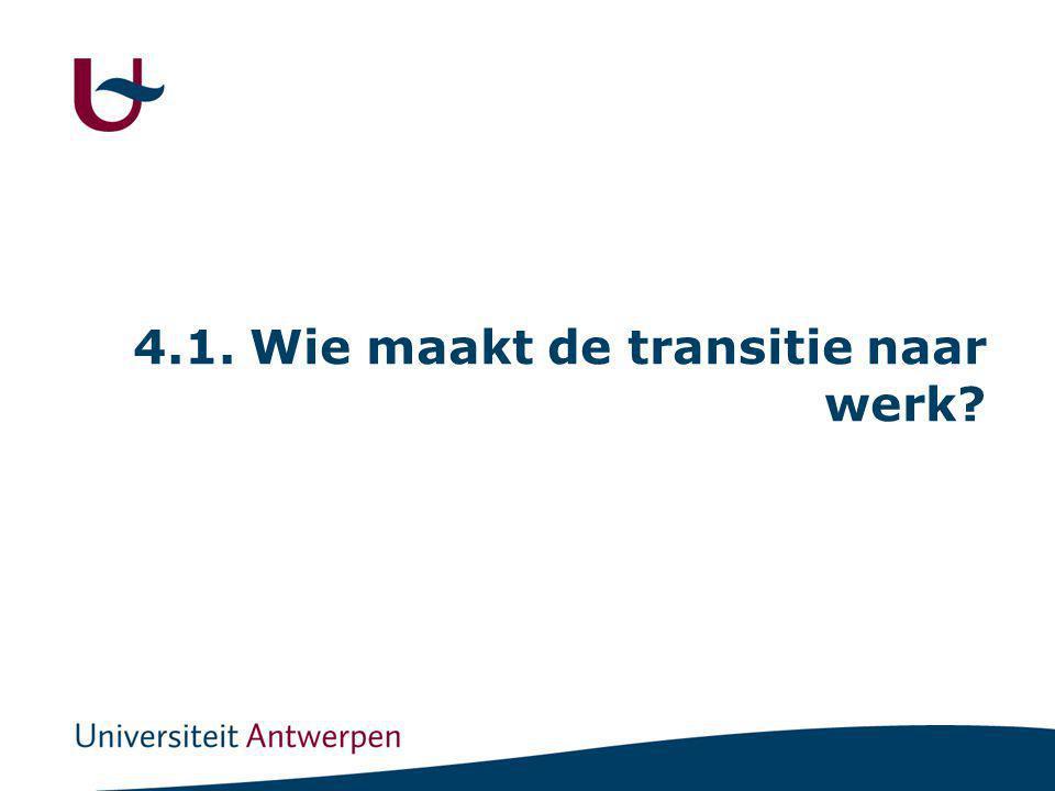 4.1. Wie maakt de transitie naar werk?