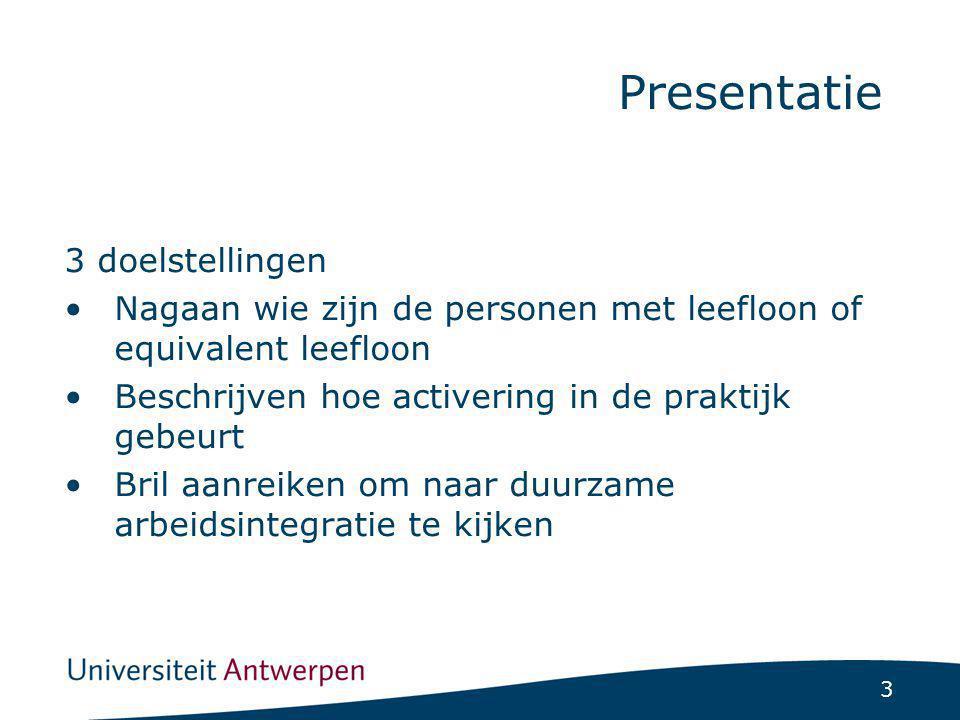 3 3 doelstellingen Nagaan wie zijn de personen met leefloon of equivalent leefloon Beschrijven hoe activering in de praktijk gebeurt Bril aanreiken om naar duurzame arbeidsintegratie te kijken Presentatie