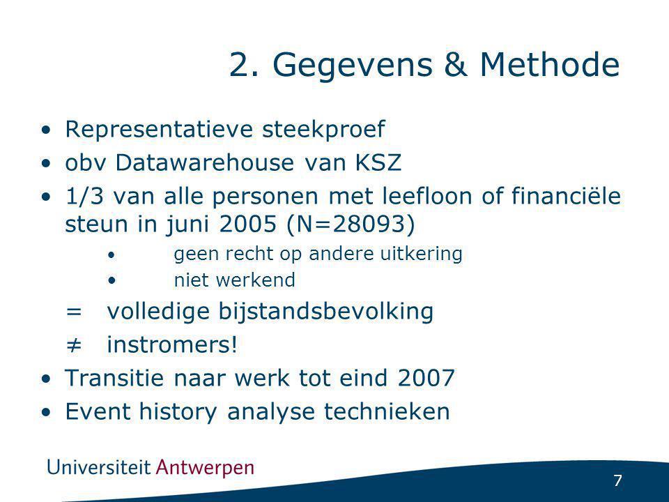 7 2. Gegevens & Methode Representatieve steekproef obv Datawarehouse van KSZ 1/3 van alle personen met leefloon of financiële steun in juni 2005 (N=28