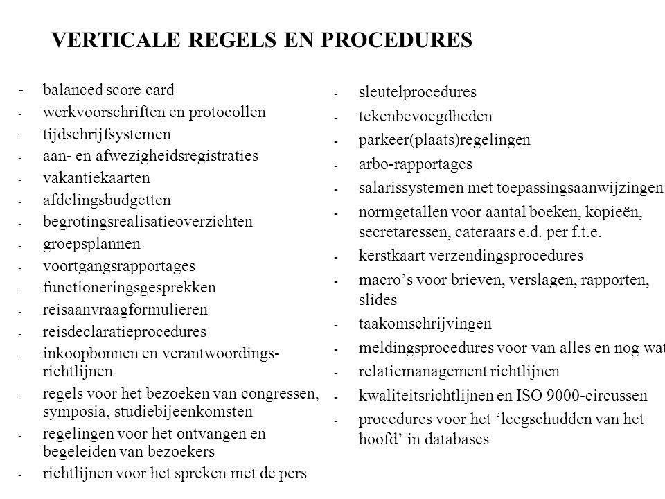VERTICALE REGELS EN PROCEDURES -balanced score card - werkvoorschriften en protocollen - tijdschrijfsystemen - aan- en afwezigheidsregistraties - vakantiekaarten - afdelingsbudgetten - begrotingsrealisatieoverzichten - groepsplannen - voortgangsrapportages - functioneringsgesprekken - reisaanvraagformulieren - reisdeclaratieprocedures - inkoopbonnen en verantwoordings- richtlijnen - regels voor het bezoeken van congressen, symposia, studiebijeenkomsten - regelingen voor het ontvangen en begeleiden van bezoekers - richtlijnen voor het spreken met de pers - sleutelprocedures - tekenbevoegdheden - parkeer(plaats)regelingen - arbo-rapportages - salarissystemen met toepassingsaanwijzingen - normgetallen voor aantal boeken, kopieën, secretaressen, cateraars e.d.
