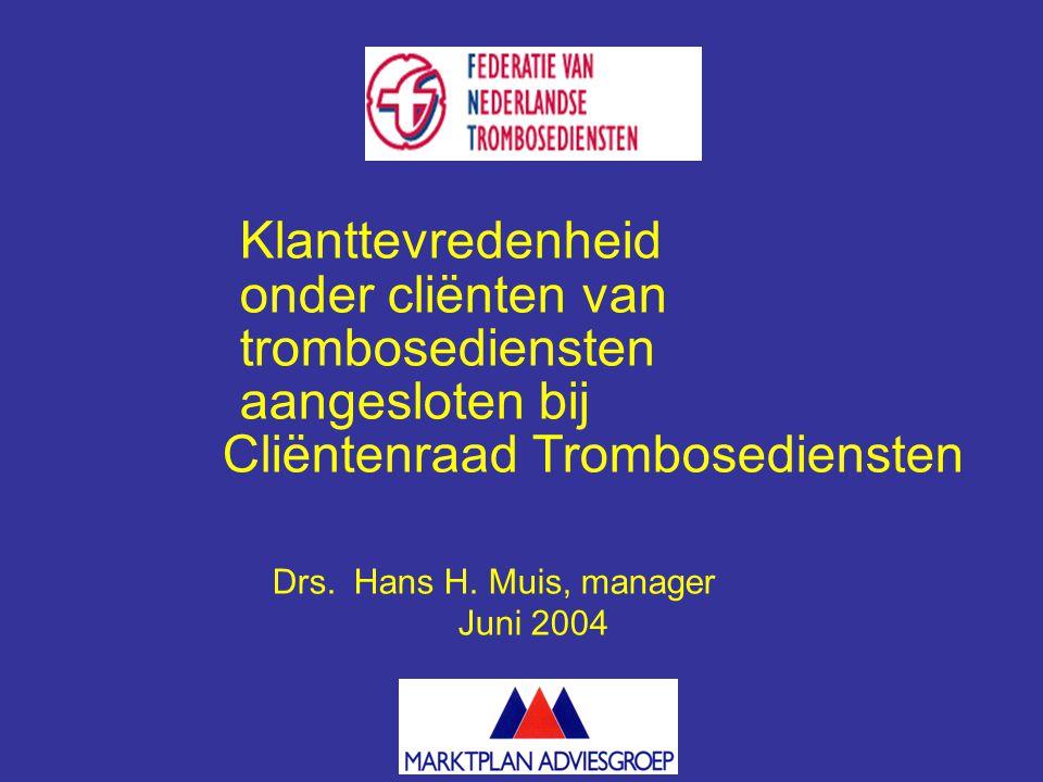 Klanttevredenheid onder cliënten van trombosediensten aangesloten bij Cliëntenraad Trombosediensten Drs.
