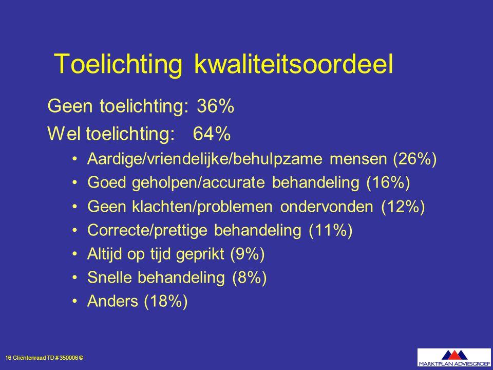 16 Cliëntenraad TD # 350006 © Toelichting kwaliteitsoordeel Geen toelichting: 36% Wel toelichting: 64% Aardige/vriendelijke/behulpzame mensen (26%) Goed geholpen/accurate behandeling (16%) Geen klachten/problemen ondervonden (12%) Correcte/prettige behandeling (11%) Altijd op tijd geprikt (9%) Snelle behandeling (8%) Anders (18%)