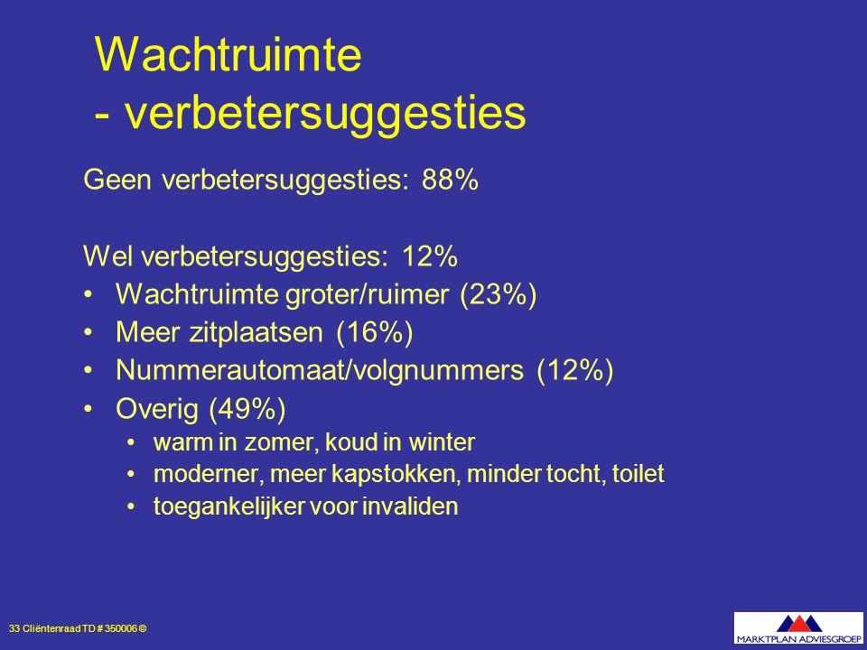 33 Cliëntenraad TD # 350006 © Wachtruimte - verbetersuggesties Geen verbetersuggesties: 88% Wel verbetersuggesties: 12% Wachtruimte groter/ruimer (23%) Meer zitplaatsen (16%) Nummerautomaat/volgnummers (12%) Overig (49%) warm in zomer, koud in winter moderner, meer kapstokken, minder tocht, toilet toegankelijker voor invaliden