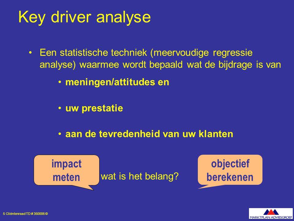 5 Cliëntenraad TD # 350006 © Key driver analyse Een statistische techniek (meervoudige regressie analyse) waarmee wordt bepaald wat de bijdrage is van meningen/attitudes en uw prestatie aan de tevredenheid van uw klanten wat is het belang.
